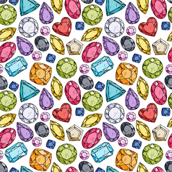 Seamless pattern of colorful jewels.