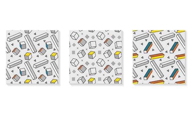 シームレスなパターン、3dグラフィック要素を持つカラフルなパターン。