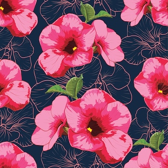 Seamless pattern colorful pink flowers on dark blue  bacground