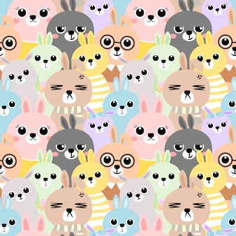 Seamless pattern colorful rabbit