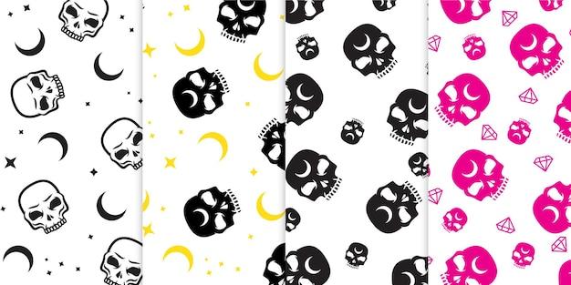 무료 벡터에서 달 별과 다이아몬드 마법의 세부 사항과 원활한 패턴 다채로운 두개골