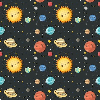 Seamless pattern the colorful solar system.