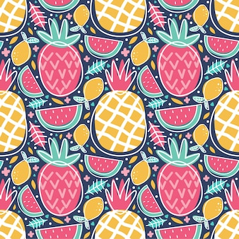 Seamless pattern colorful tropical fruit pineapple watermelon lemon doodle