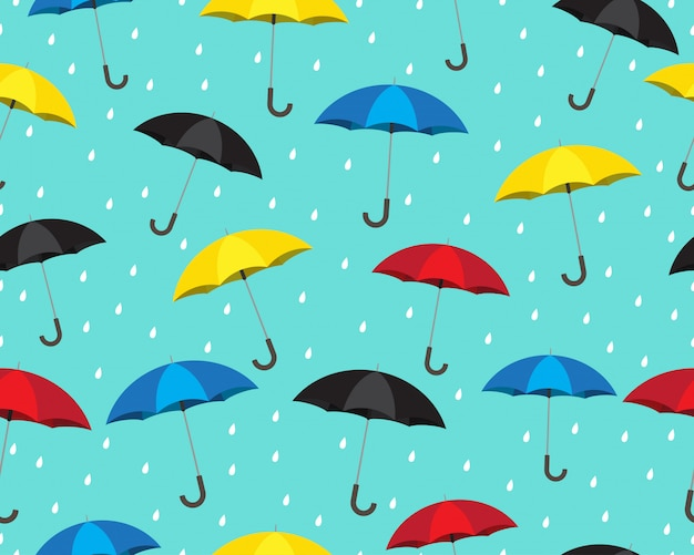 Seamless pattern of colorful umbrella with drops raining