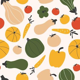 Бесшовный узор. красочные овощи на белом фоне. векторные иллюстрации