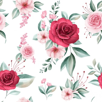 Seamless pattern of colorful watercolor flowers arrangements on white background for fashion