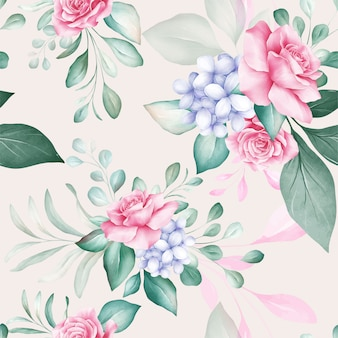Seamless pattern of colorful watercolor flowers arrangements
