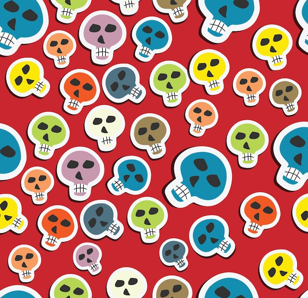 Seamless pattern colour skulls