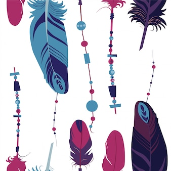 Seamless pattern of colourful  feathers.