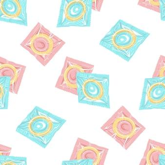 Seamless pattern of condoms