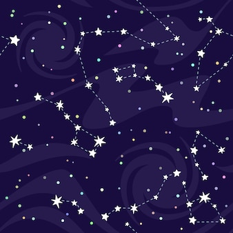 Seamless pattern of constellations on black background.