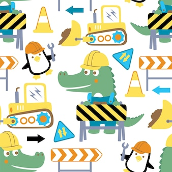 Seamless pattern of construction theme cartoon with crocodile and penguin