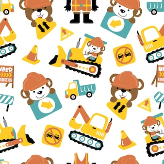 Seamless pattern of construction vehicle cartoon with funny animals