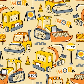 Seamless pattern of construction vehicles cartoon