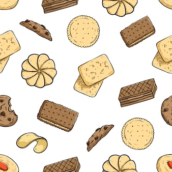 Seamless pattern of cookies with colored doodle style on white background