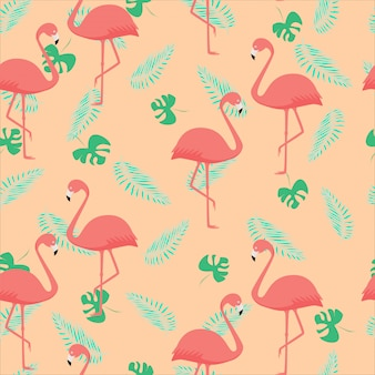 Seamless pattern of coral flamingos and palm leaves