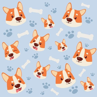 The seamless pattern of corgidog and white bone footsteps.
