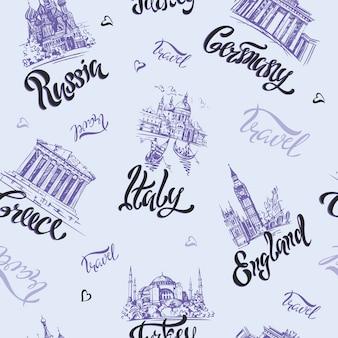 완벽 한 패턴입니다. 국가와 도시. 프리미엄 벡터
