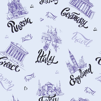 Seamless pattern. countries and cities.