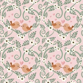 Seamless pattern couple bird