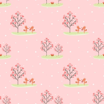 Seamless pattern couple fox