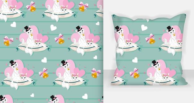 シームレスパターン猫好きのカップル。バレンタインポストカードのデザイン。