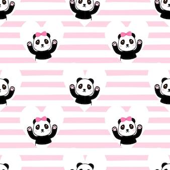 Seamless pattern couple panda