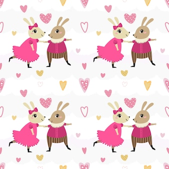 Seamless pattern couple rabbit dancing.