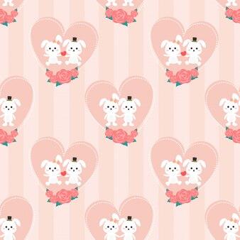 Seamless pattern couple rabbit