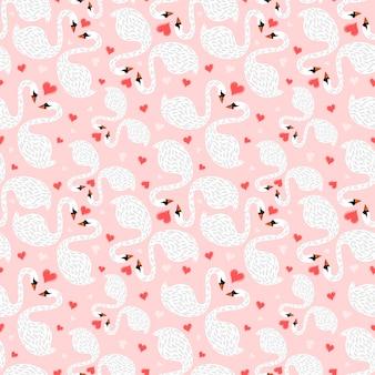 Seamless pattern couple swans