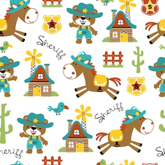 Seamless pattern of cowboy cartoon with funny horse