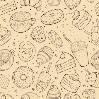 Seamless pattern, crafted sweets doodle sketch, brown illustration