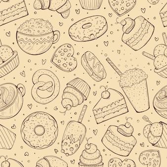 シームレスなパターン、細工されたお菓子の落書きスケッチ、茶色のイラスト