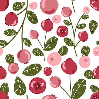 Seamless pattern of cranberry with leaves wild forest berries modern flat illustration
