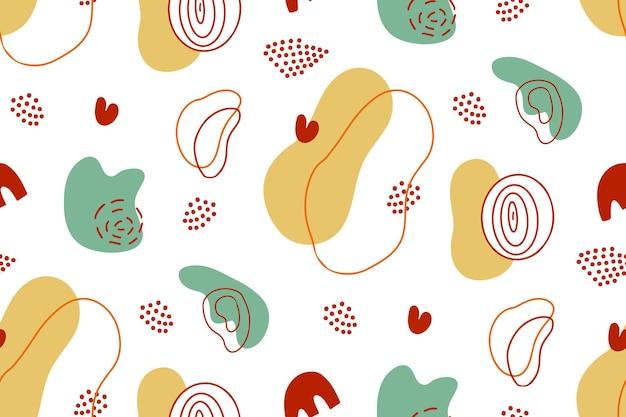 メンフィスの有機的な形、抽象的なデザイン要素とシームレスなパターンの創造的なテクスチャ背景
