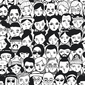 Seamless pattern of crowd different people, woman and man faces. doodle portraits fashionable girls and guys. trendy hand drawn wallpaper. black and white background.