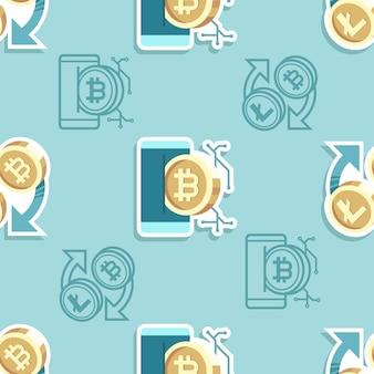 シームレスパターン暗号通貨漫画