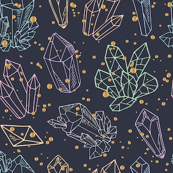 Seamless pattern - crystals or gems, endless texture with gemstones, diamonds, hand drawn
