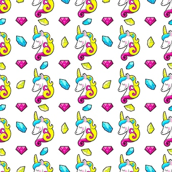 Seamless pattern of crystals and unicorns.