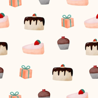Seamless pattern cup cakes and gift boxes. a watercolor style themed objec