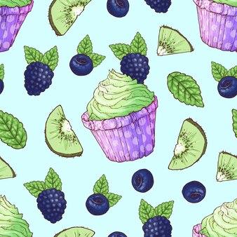 Seamless pattern cupcake blackberry blueberry kiwi.