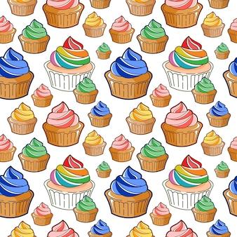 シームレスパターンカップケーキ漫画ベーカリーとペストリー