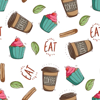 Seamless pattern of cupcake and coffee paper cup with doodle style