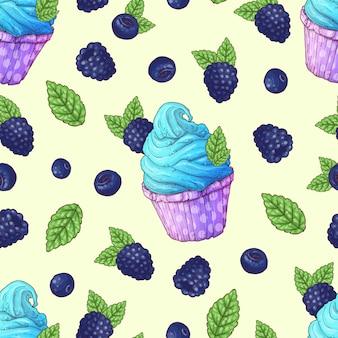 Seamless pattern cupcakes strawberry raspberry cherry