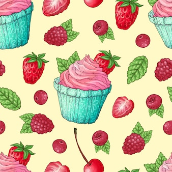 Seamless pattern cupcakes strawberry
