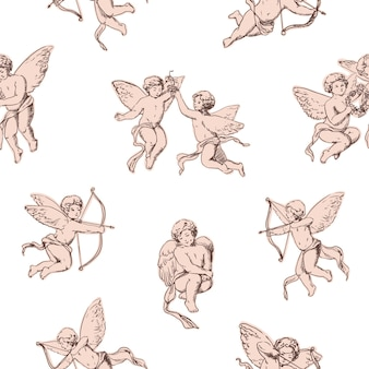 Seamless pattern cupids holding bows and shooting arrows