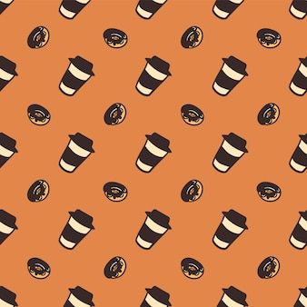 Seamless pattern of a cups of coffee and delicious donuts.