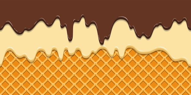 Бесшовные модели. текущая глазурь и шоколад на фоне текстуры вафли.