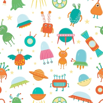 Seamless pattern of cute aliens, ufo, flying saucer for children. bright and funny flat illustration of smiling extraterrestrial creatures on white background. space picture for kids.