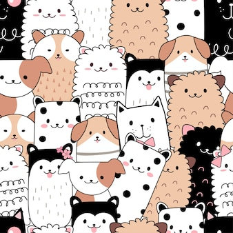 Seamless pattern cute animal cartoon